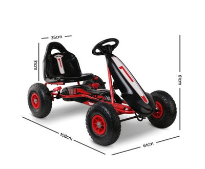 Rigo Kids Pedal Go Kart Red with Free Customized Plate