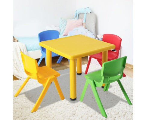 5 Piece Kids Table and Chair Set - Yellow by Keezi