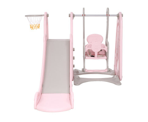 Kids Slide and Swing with Basketball Hoop by Keezi - Pink