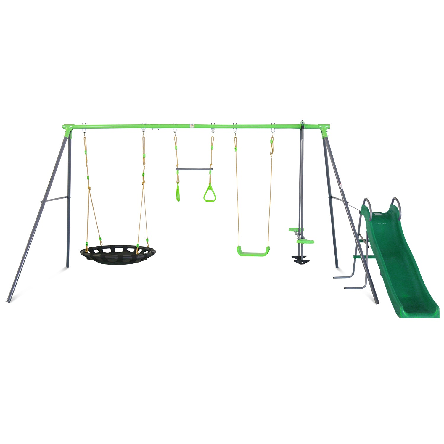 Lifespan Kids Lynx 4 Station Swing Set with Slippery Slide