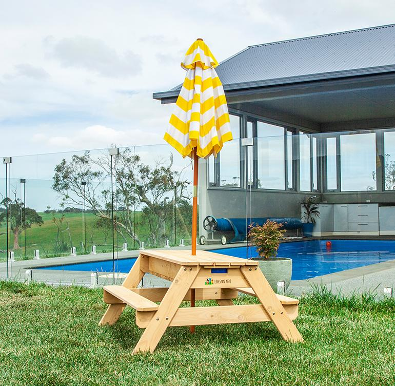 Lifespan Kids Sunrise Sand & Water Picnic Table with Umbrella