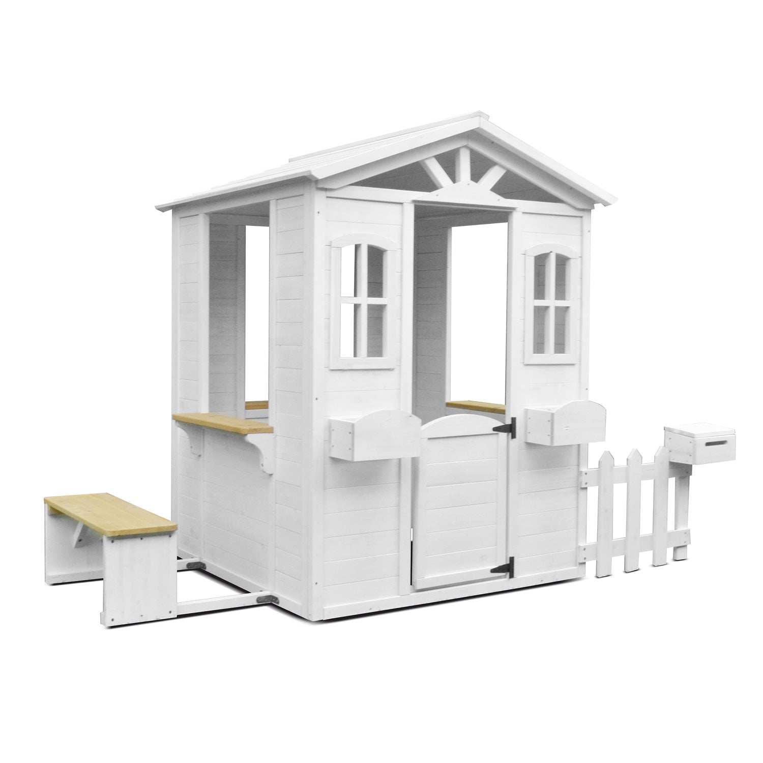 Lifespan Kids Teddy Cubby House with White Picket Fence and Floor