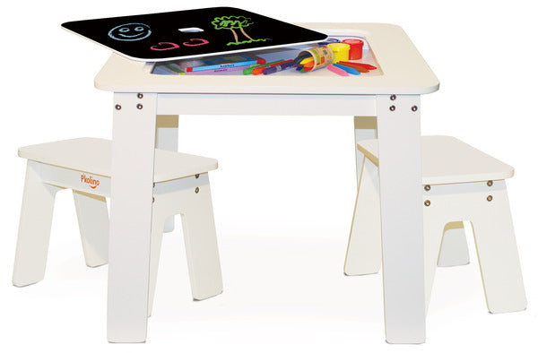 P'kolino Chalk Table and Benches - White