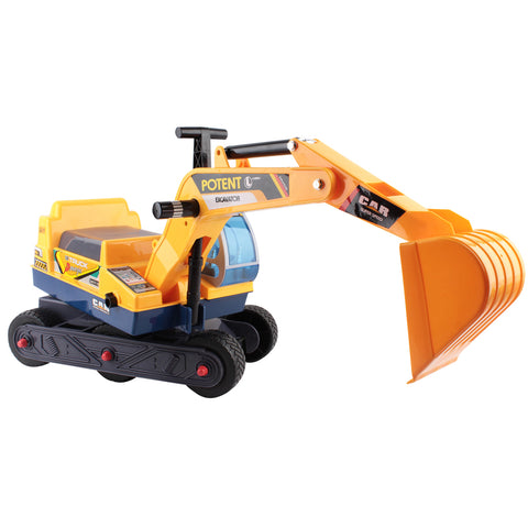 Image of Kid's Pretend Play Ride On Excavator Digger with Helmet - Yellow