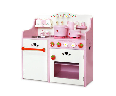 Wooden Kitchen Play Set - Pink by Keezi