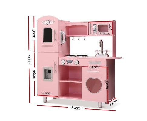 Wooden Kitchen Play Set with Dispenser and Utensils - Pink by Keezi