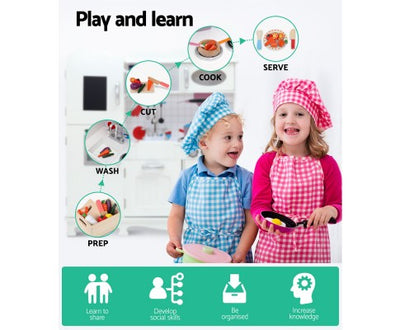 Wooden Kitchen Play Set with Dispenser and Utensils - White by Keezi