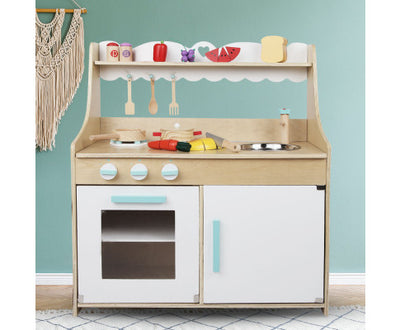 Wooden Kitchen Play Set - Natural & White by Keezi
