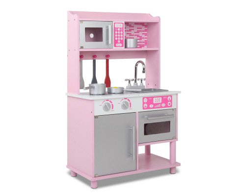 Kids Wooden Kitchen Play Set with Microwave - Pink & Silver by Keezi