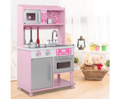 Image of Keezi Kids Wooden Kitchen Play Set - Pink & Silver