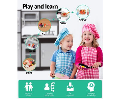 Wooden Kitchen Play Set - Black by Keezi