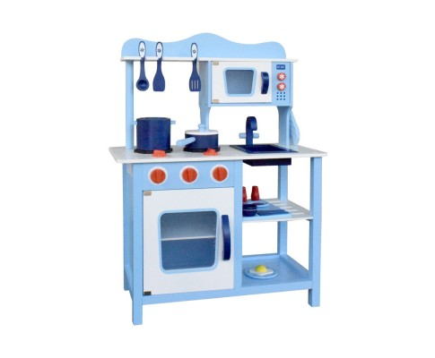 Wooden 18 Piece Kids Kitchen Play Set - Blue by Keezi