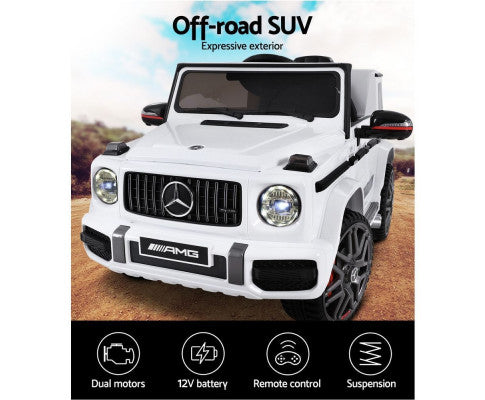 Rigo Kids Ride On Car Mercedes-Benz AMG G63 Replica 12V 40W - White with Free Customized Plate
