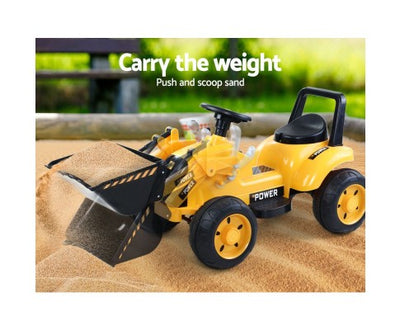 Kids Ride On Bulldozer Digger Truck Yellow with Free Customized Plate