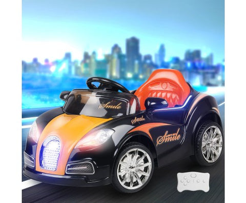 Rigo Kids Ride On Car (Bugatti Replica) - Black and Orange with Free Customized Plate
