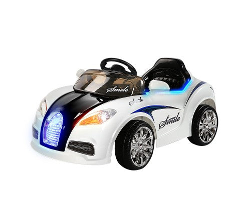 Rigo Kids Ride On Car (Bugatti Replica) - Black and White with Free Customized Plate