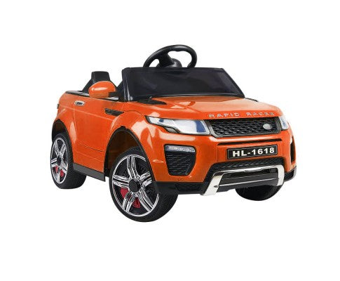 Rigo Kids Ride On Car (Range Rover Evoque Replica) - Orange with Free Customized Plate