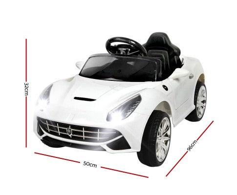 Rigo Kids Ride On Car F12 Sports Car - White with Free Customized Plate