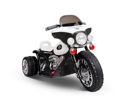 Rigo Kids Ride On Police Motorbike Motorcycle Toys Black White with Free Customized Plate