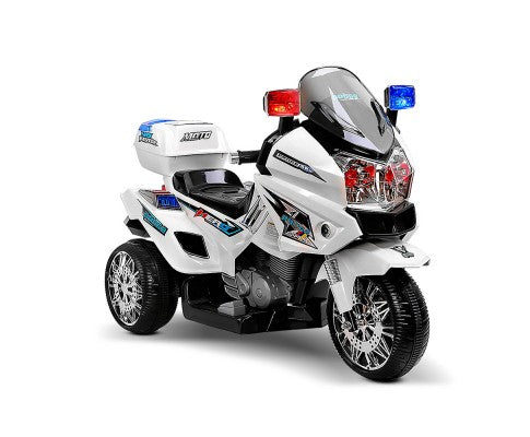 Rigo Kids Ride On POLICE Motorbike - White with Free Customized Plate