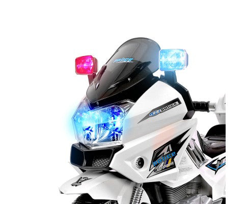 Rigo Kids Ride On POLICE Motorbike - White