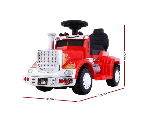 Rigo Kids Ride On Truck Electric Toys - Red with Free Customized Plate