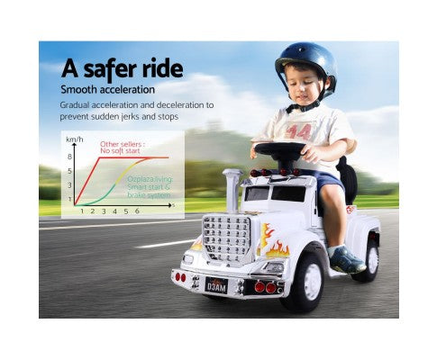 Rigo Kids Ride On Truck Electric Toys - White with Free Customized Plate