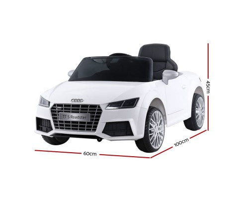 Kids Ride On Car Audi Licensed TT RS White with Free Customized Plate