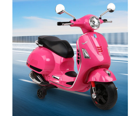 Rigo Kids Ride On Motorbike Vespa Licensed Motorcycle Car Toys PINK with Free Customized Plate