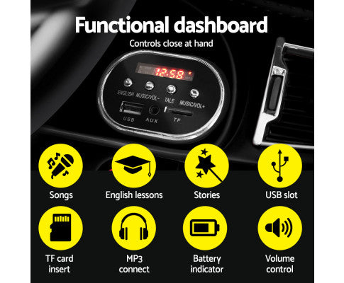 Rigo Kids Ride On Car (BMW Style X5 Replica) - Black with Free Customized Plate