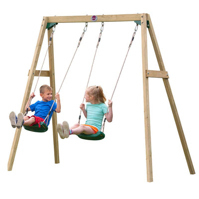 Double Wooden Swing Set