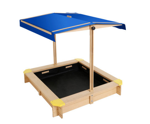 Wooden Outdoor Sand Box Set Sand Pit 110 - Natural Wood by Keezi