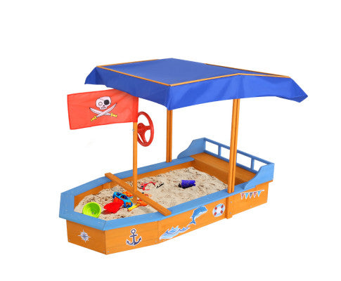 Boat-shaped Canopy Sand Pit by Keezi