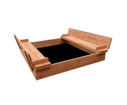 Wooden Outdoor Sandpit Set - Natural Wood by Keezi
