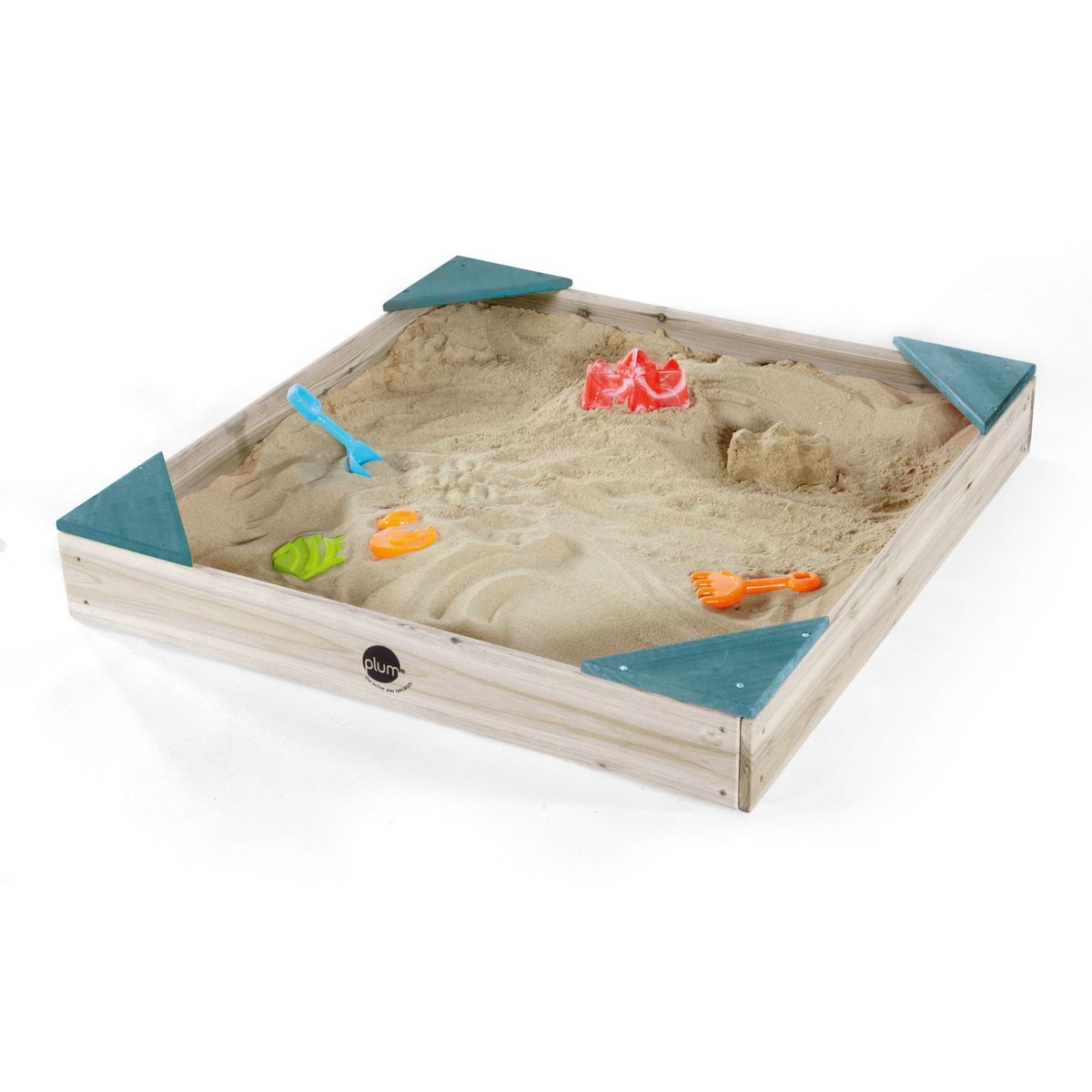 Square Wooden Sandpit - Teal by Plum Play