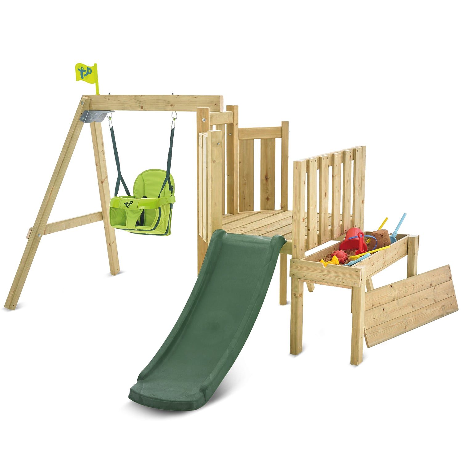 TP Toys Toddler Tower Slide and Swing Set with Folding Seat