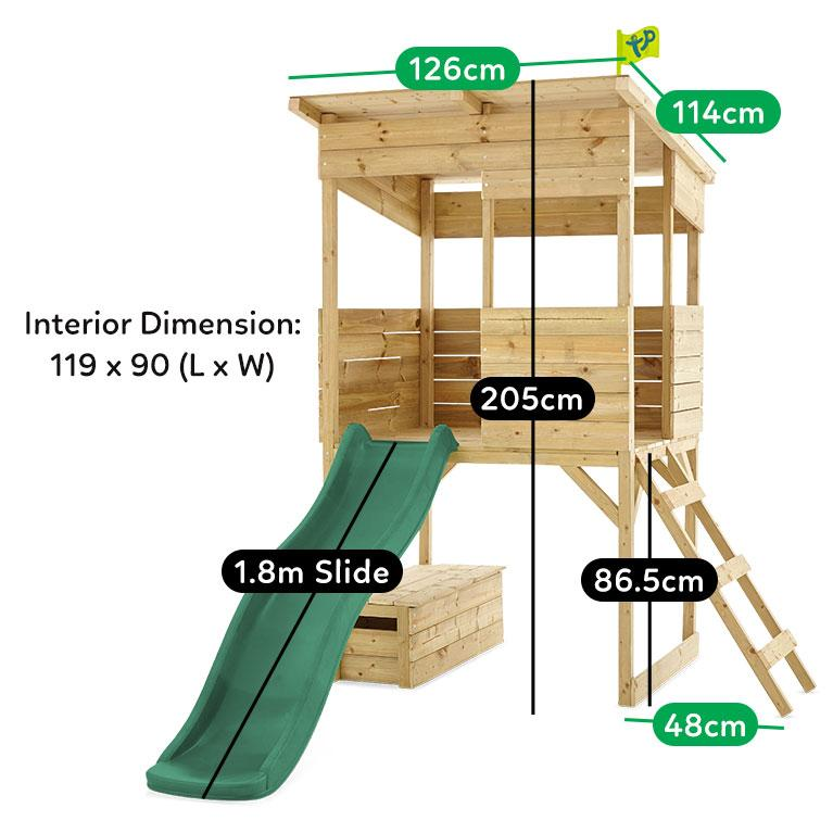 Lifespan Kids TP Treetops Wooden Tower Playhouse with Toy Box and 1.8 Green Slide