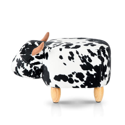Artiss Kids Cow Animal Stool - Black & White