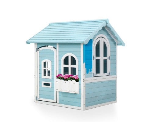 Wooden Cubby House Blue/White by Keezi