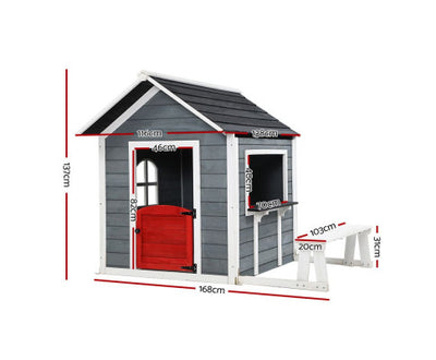 Wooden Cubby House Grey by Keezi