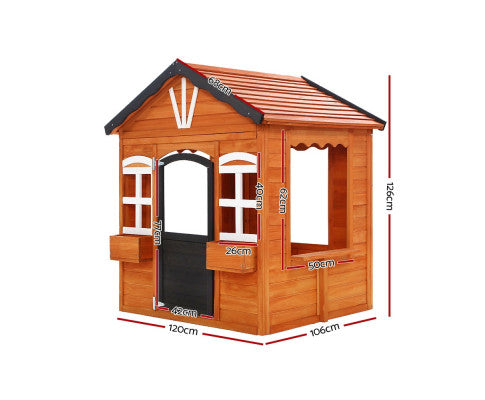 Wooden Cubby House Natural by Keezi
