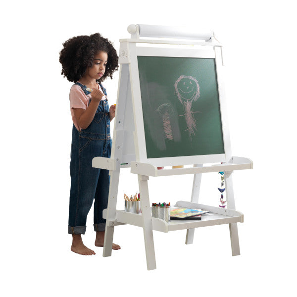 Deluxe Wooden Easel - White by Kidkraft