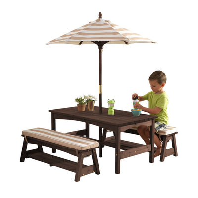Outdoor Table & Bench Set with Cushions & Umbrella - Oatmeal & White Stripes by KidKraft