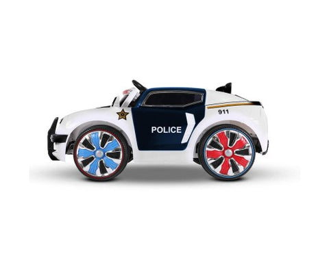 Rigo Kids Police Car Ride On (Ford Replica) - Black & White with Free Customized Plate