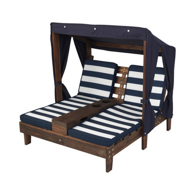 Double Chaise Lounge with Cup Holders - Espresso & Navy by KidKraft