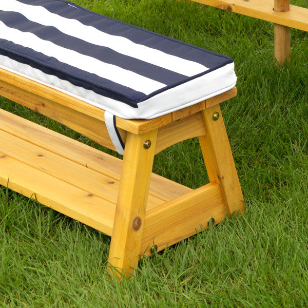 Outdoor Table & Bench Set with Cushions & Umbrella - Navy & White Stripes by Kidkraft