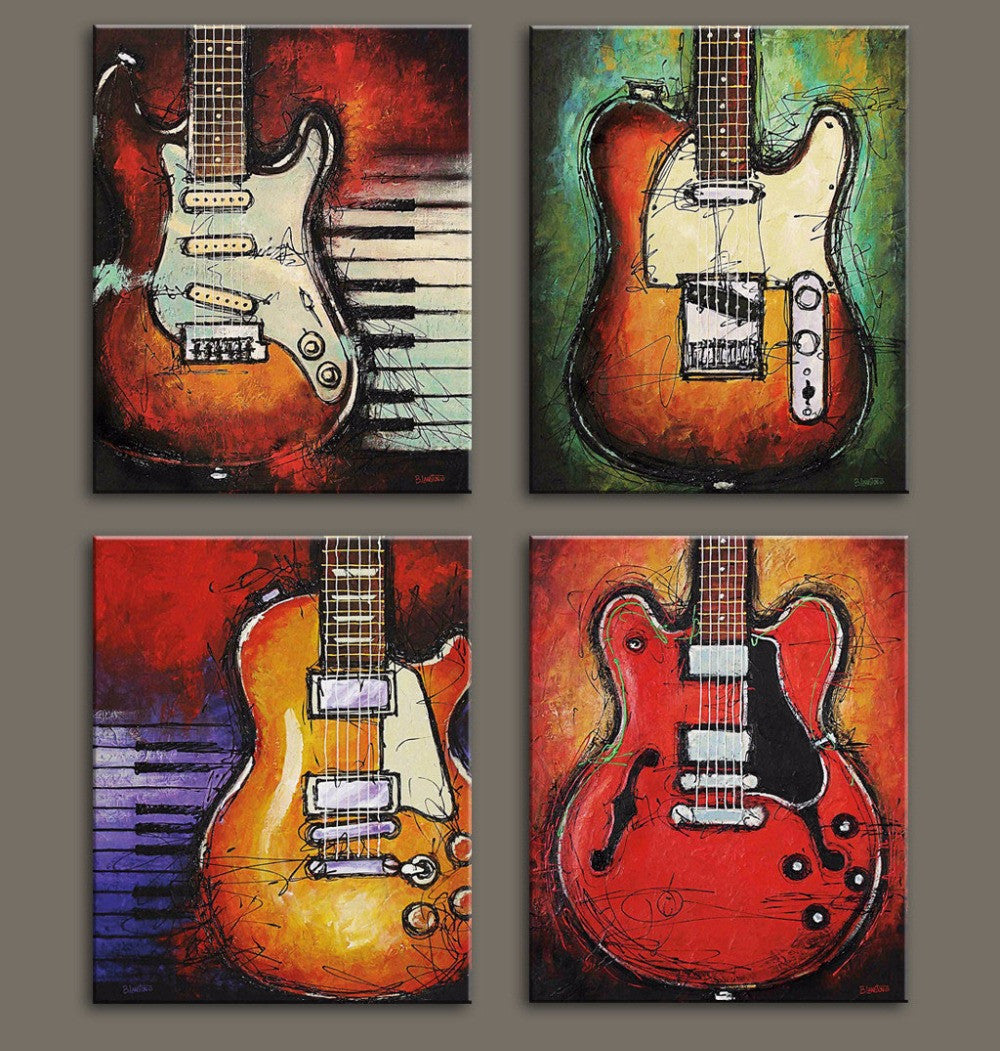 4 Piece Guitar Canvas Prints - Great Guitar Gifts