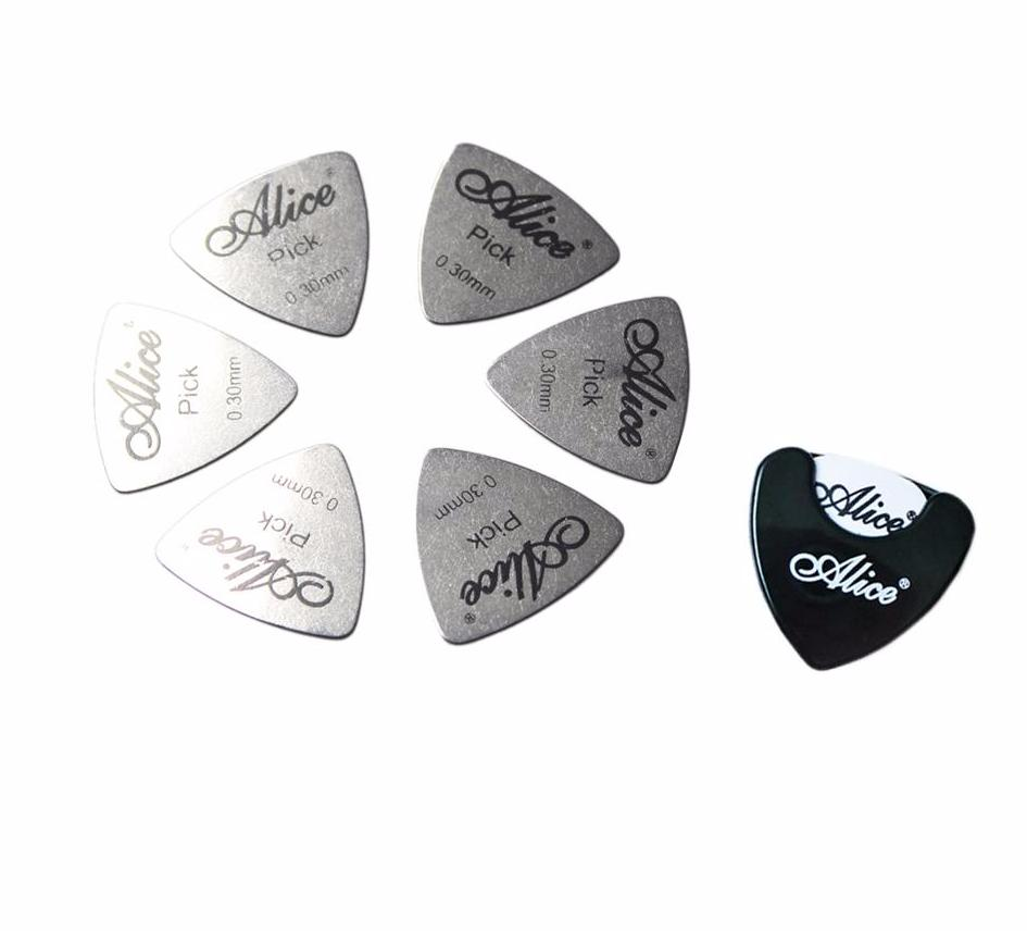 6 Steel Picks with Holder - Great Guitar Gifts