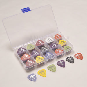 100 Assorted Thickness Guitar Picks with Plastic Case - Great Guitar Gifts