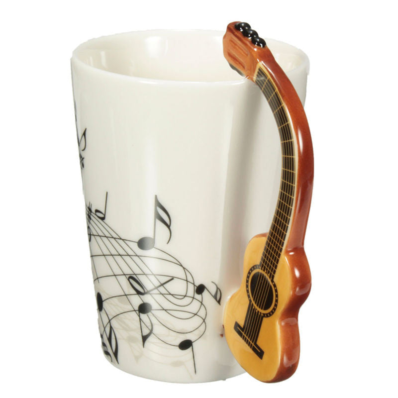 Novelty Guitar Music Note Ceramic Mug - Great Guitar Gifts